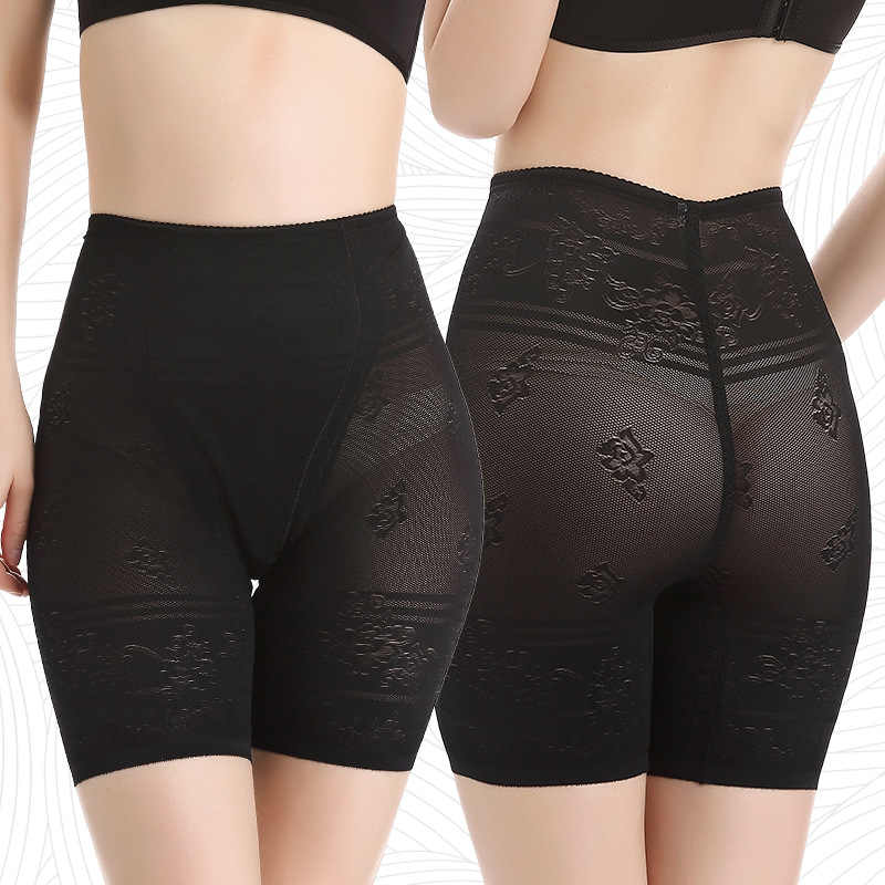 CINESSED Black Seamless Shorts Women Plus Lace Floral Print Jacquard Elastic Body Shaping Panties Stretch Shorts Under Skirts