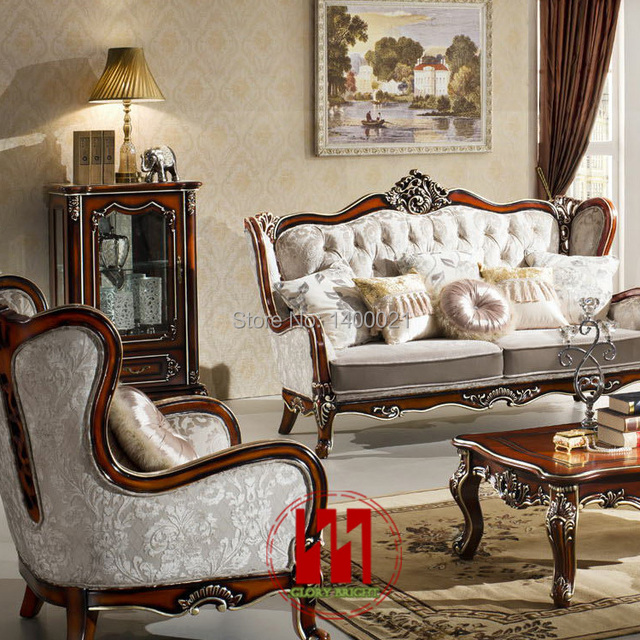 Charmant European Style Classic Wood Sofa Set ,Living Room Wooden Sofa Set,Carving Wood  Sofa