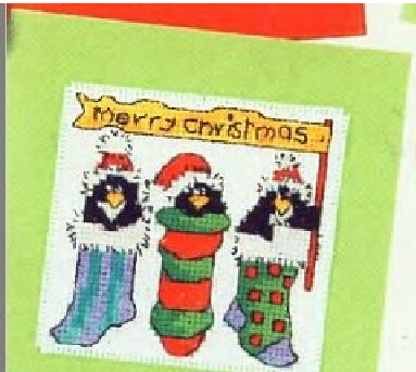 cs 409 cross stitch kit penguin card merry christmas christmas card festival card