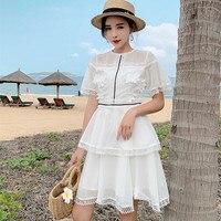 HANZANGL New 2019 Brand Women Dress Gentle Lady Mesh Small Cake Dress Hook Flower Hollow Out Casual Short Party Dresses