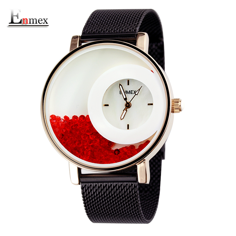 2017 new gift Enmex women luminous hands red stone Swan Lake wristwatch steel band cool lady