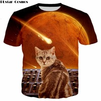 PLstar Cosmos Cats On Synthesizers In Space 3D All Over Print T Shirts Short Sleeve Hipster