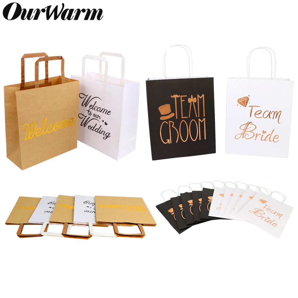 OurWarm Wedding Kraft Paper Gift Bags With Handle Packages Bags Party Favors Bridesmaid Groom Wedding Souvenir Party Decoration