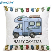 Homey Design 2017 1PC Decoration Pillowcase Happy Campers Square Linen Throw Pillow Case Free Shipping JA19