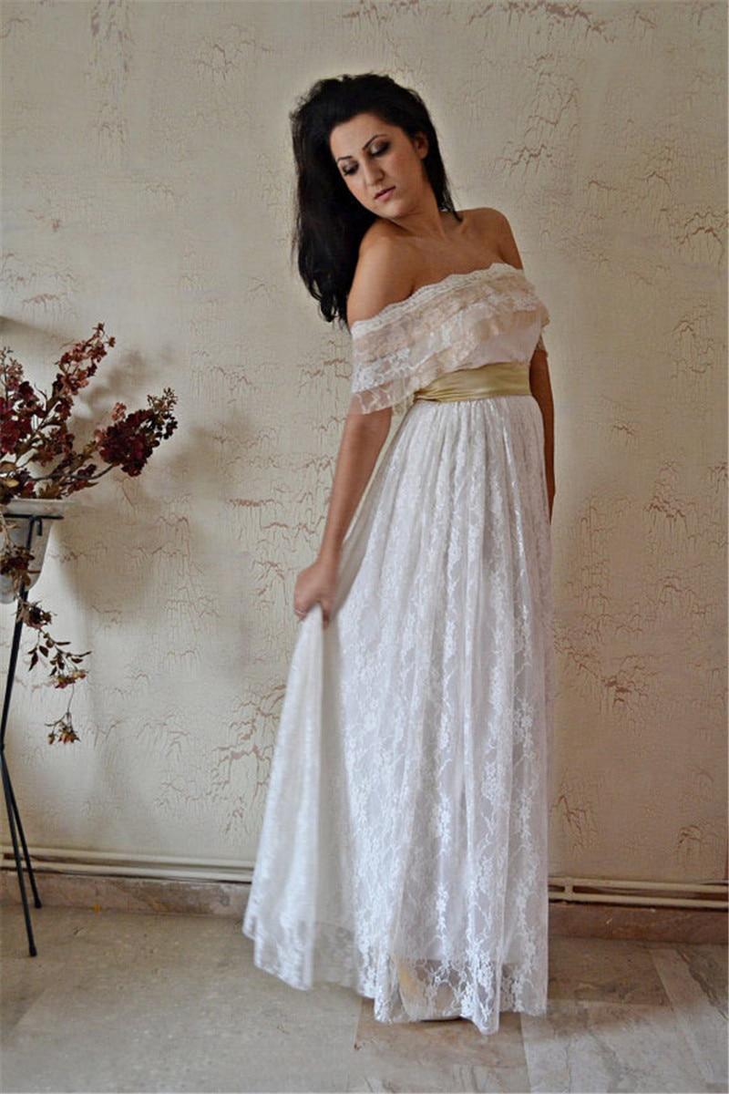 6a0e4f8864 MANSA Vintage Strapless Long Lace Beach Wedding Dress Ivory Boho Wedding  Gown Bruidsjurken Vestidos De Novia Robe De Mariee