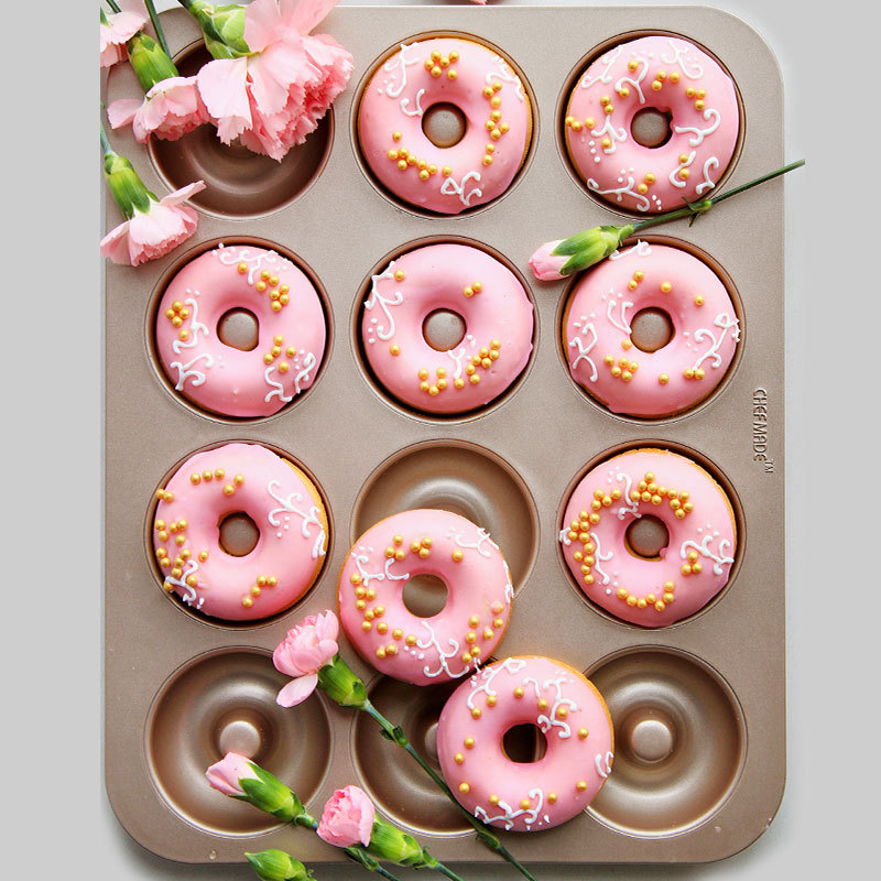 12 holes Donuts Mold Pan Carbon Steel Baking  Trays Mould Loaf Baking Pans Dish Baguette Non-Stick Confectionery Tools Bakeware Тостер