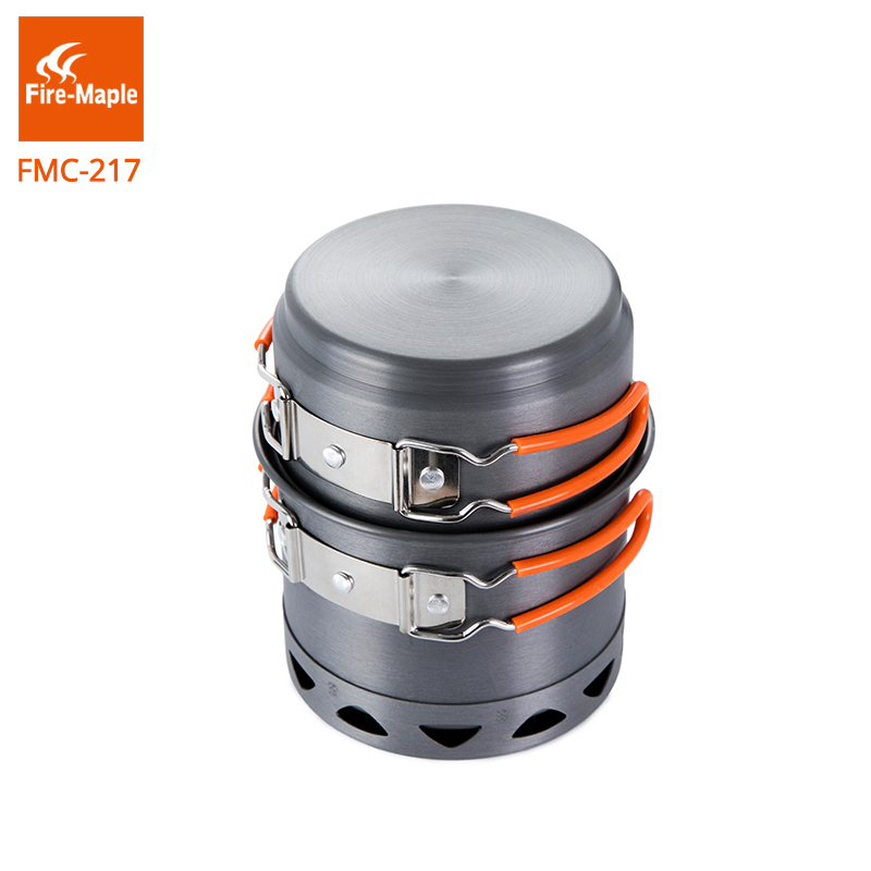 лучшая цена Fire Maple Camping Cookware Set Outdoor Compact Foldable Heat Exchang Pot FMC-217 268g Light Weight Single Travel Cooking Pots