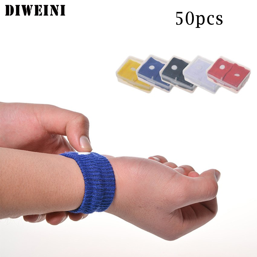 Diweini 100pcs Travel Morning Sickness Wrist Band Anti Nausea Car Van Sea Plane Wristband