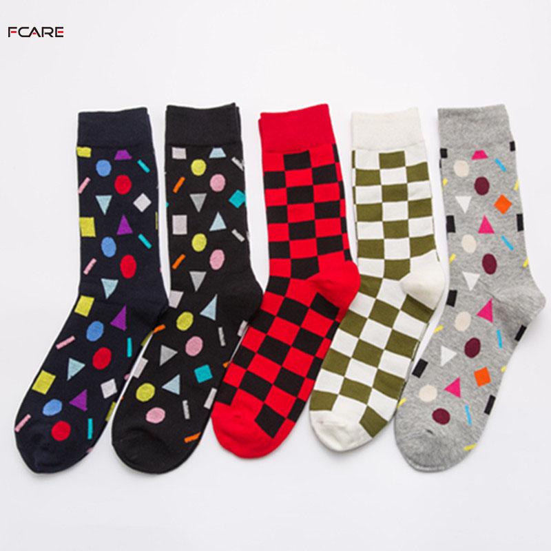 Fcare 10 PCS=5Pairs plus size big XXXL plaid Fashion wild mens Crew socks funny long happy socks