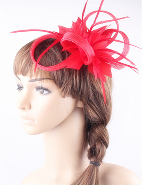 21Colors Women Small Sinamay red Fascinators headwear Feather Flowers Hair  Clip Accessories Bridal Brooch for Wedding party d66a856a3ca