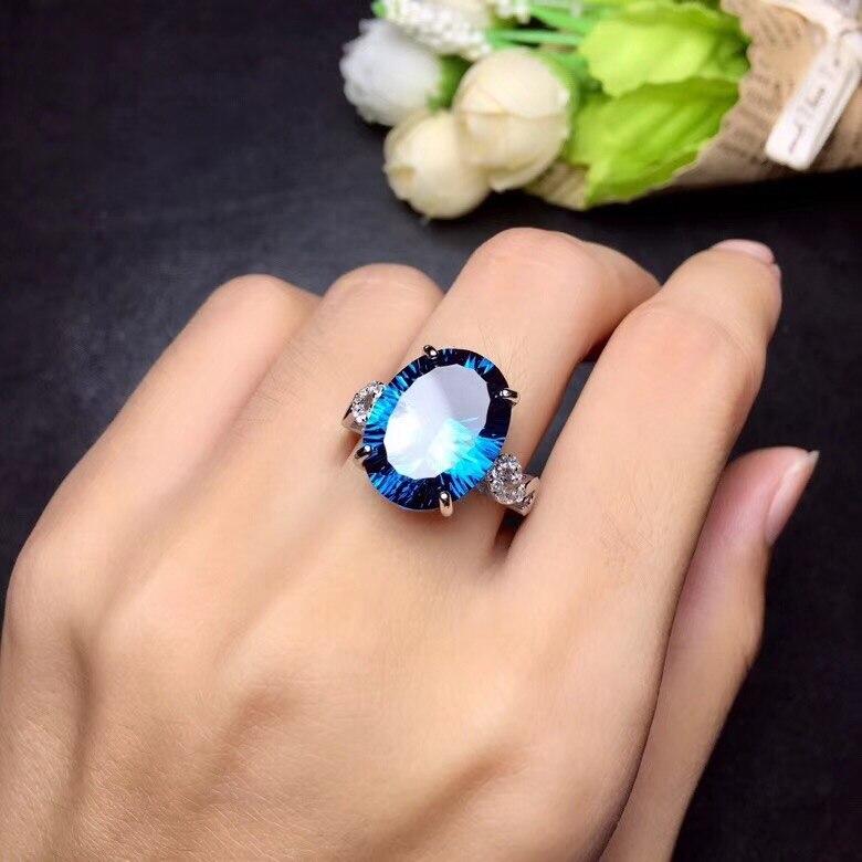 Bague topaze bleue naturelle Uloveido, pierres précieuses 10 carats, bagues en argent 925, bague de naissance, avec certificat et boîte-cadeau 20% FJ304 - 3