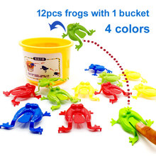 13pcs/lot Plastic Animal Toy Jumping Frogs ABS Kids Frog Family Game Action Figure Educational Toys For Children