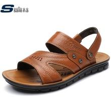Cuero genuino de Verano Sandalias de Los Hombres de Peso Ligero Transpirable Sandalias de Cuña sandalias de Moda Sandalias Frescas AA10072
