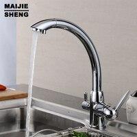 Tri Flow Water Filter Tap Three Ways Sink Mixer 3 Way Kitchen Faucet Solid Brass Chrome