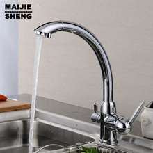 Tri Flow Water Filter Tap Three Ways Sink Mixer 3 Way Kitchen Faucet Solid Brass Chrome Finished Osmosis Reverse