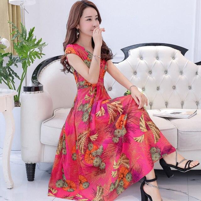 2d4c79512f Mulheres boêmio Vestidos de Chiffon de Verão 2018 Plus Size Plissado Vestido  Longo Floral Impresso Sem