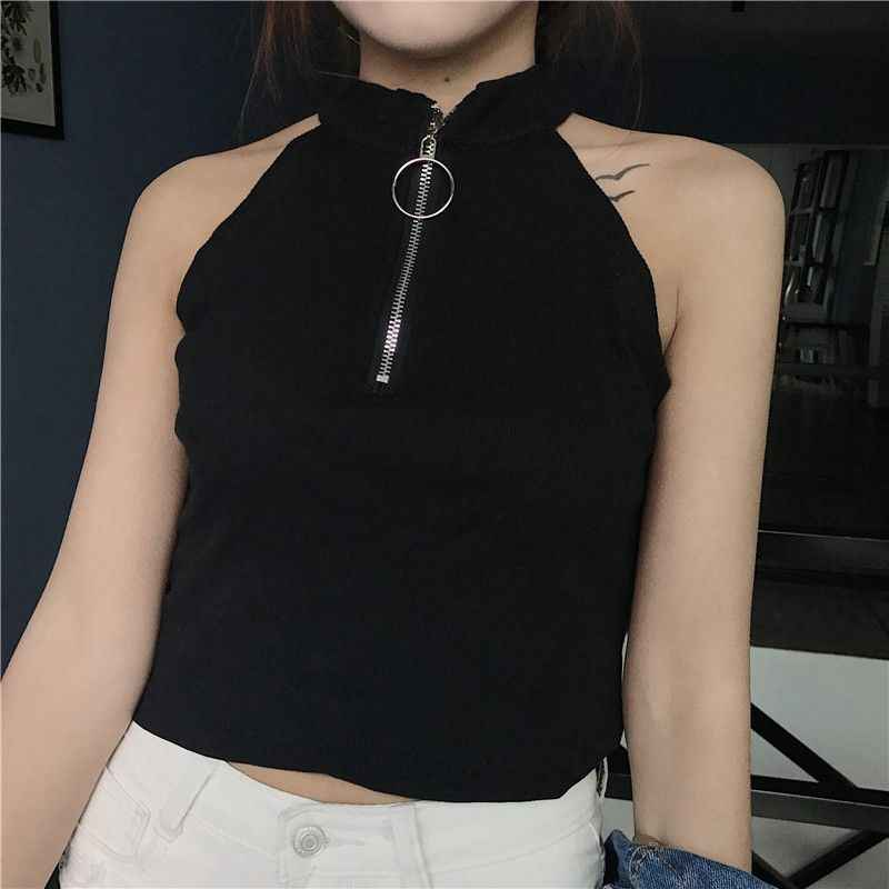 Nevettle Zippers Halter Neck Top Women Sexy Off shoulder Black White Solid Crop Tops Summer T shirt