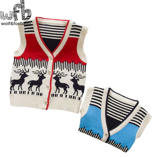 Retail 0-4years knitted sweaters Vests deer boys girls baby kids children Clothes Infant Garment spring autumn fall