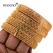 WANDO 4pcs/lot Charm Bracelets for Women luxury Brand Gold Color Hollow Holiday Beach Party Bangle Jewelry Indian jewelry b119(China)