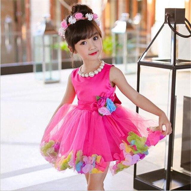 40f75f161 New Arrival Baby Girls Summer Dresses Sleeveless O-Neck Flower Kids Tutu  Princess Cute Fashion School Perform Party Dresses