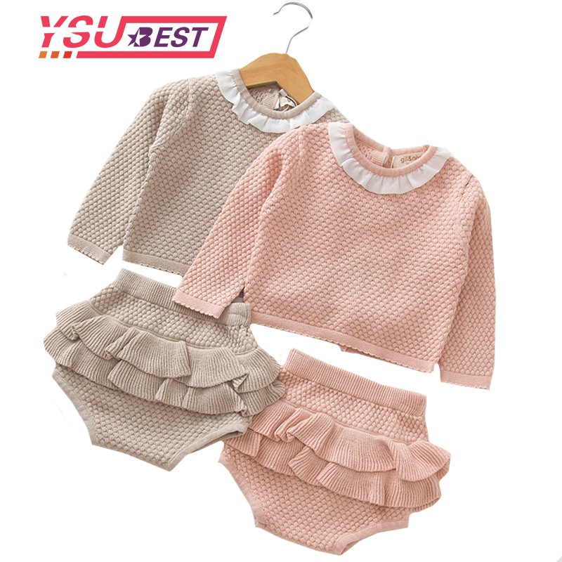 Baby Kids Clothes Sets Sweater Girls Sets Ruffles 2018 Autumn Pink Knitted Suits Long Sleeve Sweater+PP Short 2Pcs Kids Suits calvin klein new pink short sleeve stripe dolman sweater l $69 5 dbfl