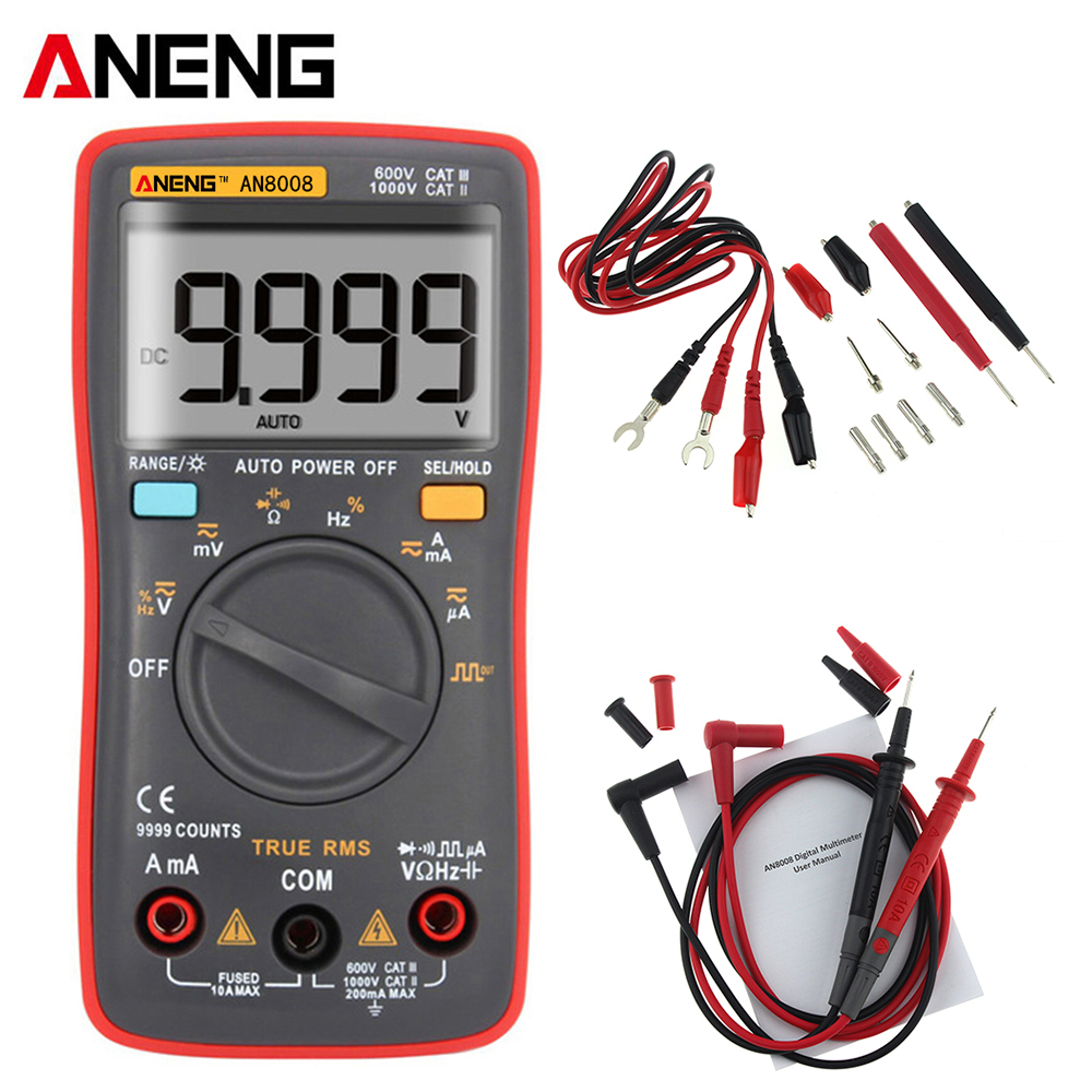 AN8008 Palm-size True-RMS Digital Multimeter 9999 counts Square Wave Backlight AC DC Voltage Ammeter Current Ohm Auto/Manua an8008 true rms digital multimeter 9999 counts square wave backlight ac dc voltage ammeter current ohm auto manual tester probes