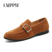 British Suede Leather Men Flats Fashion Buckle Loafers Soft Moccasin Slip on Driving Boat Big Size 47 48