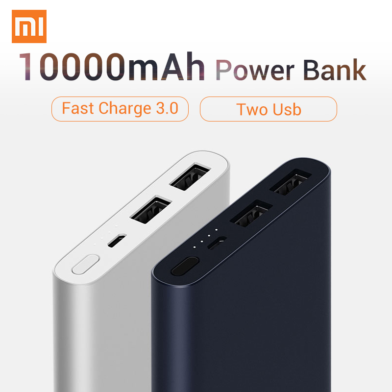 2018 Original Two USB Fast Charge XIAOMI Power Bank 10000mAh 5V 9V 12V Quick 18W Quick Charge 3.0 Charger for Iphone for Xiaomi