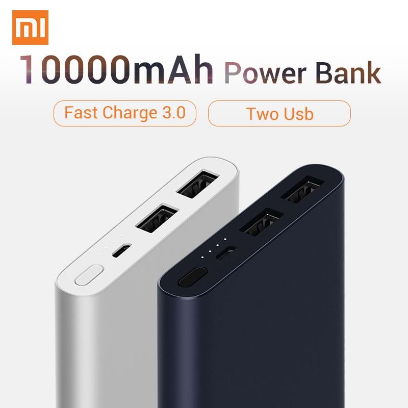 2018 Original Zwei USB Schnellladung XIAOMI Energienbank 10000 mAh 5 V 9 V 12 V Schnell 18 Watt Quick Charge 3,0 Ladegerät für Iphone für Xiaomi
