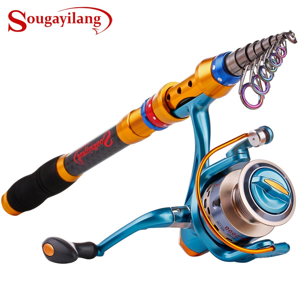 Sougayilang 1 8M 3 6M Telescopic Fishing Rod Reel Set Carbon Portable Fishing Pole with 11