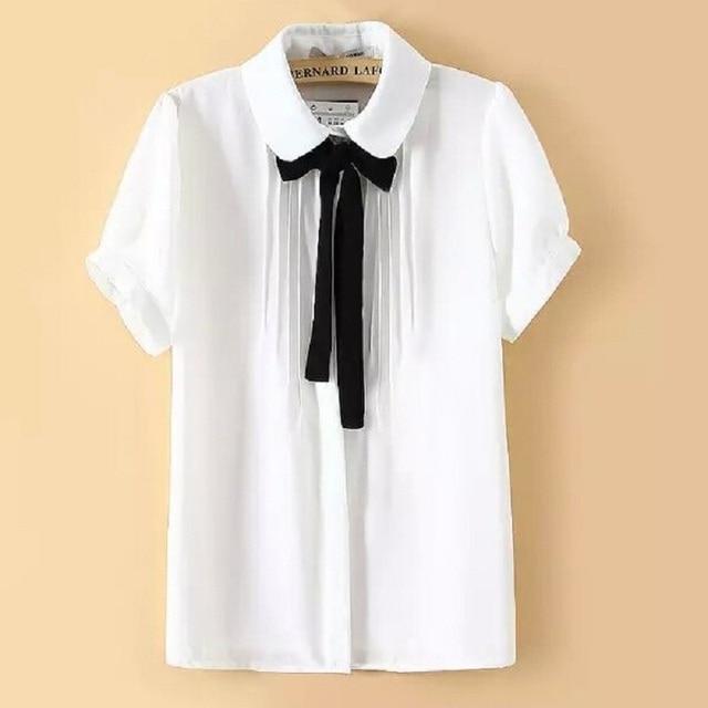 5XL Plus Size Women Blouses 2015 Summer White Shirt Black Tie ...
