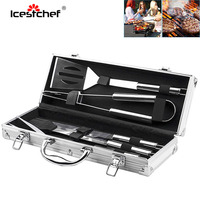 ICESTCHEF 5Pcs/Set Stainless Steel BBQ Tools Set Grill Utensil Kit Outdoor Camping Barbecue kit With Aluminium Storage Case