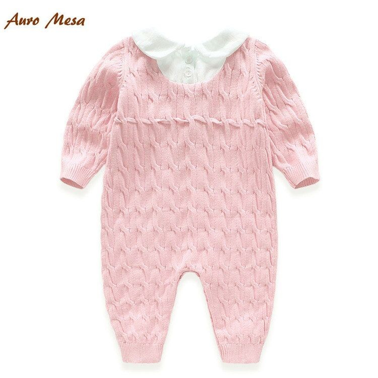 fc82ab3b5d1 Hot Spring Baby Knitting Romper Pink One piece 100% Cotton Newborn ...