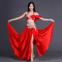 Rhinestone Performance Wear Costume Sexy Belly Dance 2pcs Set For Women Female High Quality Silk Bra