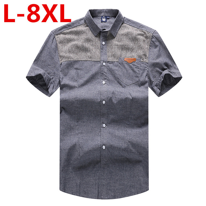 high quality plus size 8XL Cotton Striped Casual shirts Mens Dress Shirt men Short Sleeve Male Thin Strip social Camisa Musculia