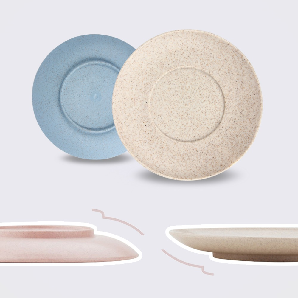 4pcs Tableware Sets Saucer Flat Plate Wheat Straw Plastic Plates ...