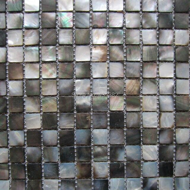20x20mm nero Naturale madre di tessere di Mosaico perla, cucina ...