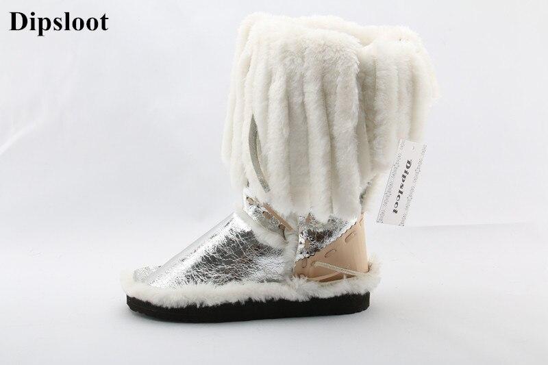 Dipsloot/новые зимние сапоги до середины икры с длинным мехом и бахромой, удобная женская модная зимняя обувь на плоской подошве в стиле эскимо,