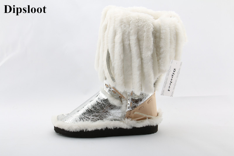 Dipsloot Newest Long Fur Fringe Mid-calf Snow Boots Comfortable Flat Eskimo Style Lady Fashion Winter Shoes Woman Free Shipping stylish women s mid calf boots with solid color and fringe design