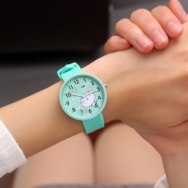 Fashion Casual Cute Cartoon Cat Quartz Watches Wristwatches Dress Wrist Watches