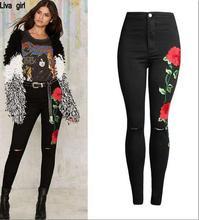 Женская новый 3D трехмерной вышивки Тонкий женские ноги вышитые джинсы pure black колени носить ковбойские