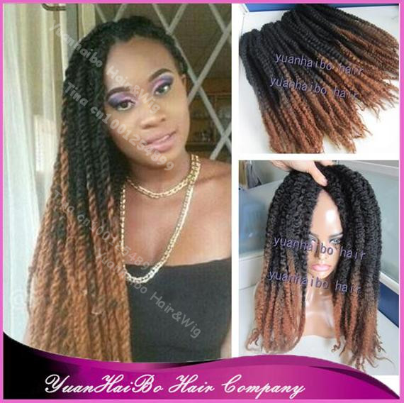 20 Fold Two Tone Black Brown Synthetic Twists Ombre Marley Braid
