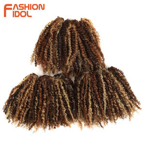 Image 2 - FASHION IDOL Mongolian Afro Kinky Curly Weave Hair Bundles Full Head 3Pcs/Pack 6 Inch Synthetic Hair Extension Free Shipping