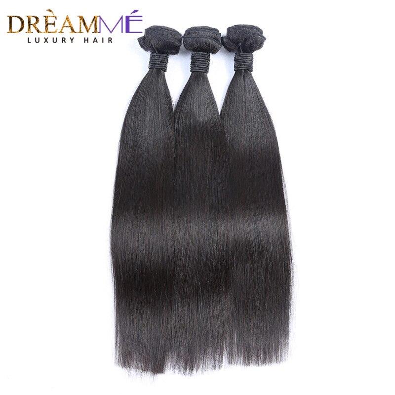 Brazilian Straight Human Hair 3 Bundles Weave 100 Virgin Human Hair Extension Natural Black Color Dreaming