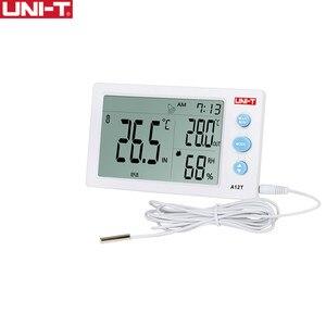 Image 1 - UNI T a12t digital lcd termômetro higrômetro temperatura medidor de umidade despertador estação meteorológica ao ar livre indoor instrumento