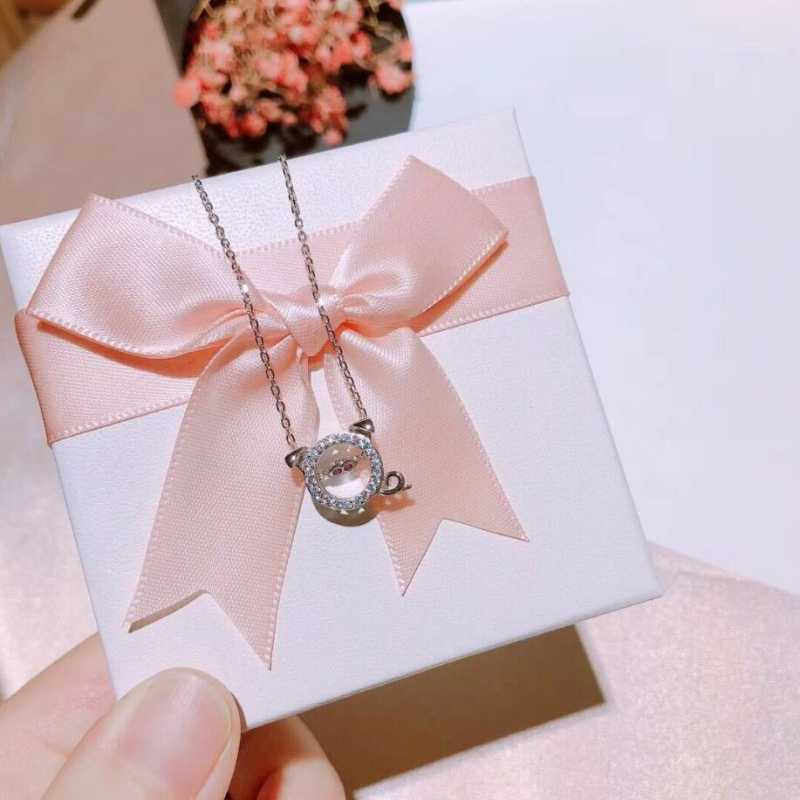 2019 noworoczny prezent bicie świnia naszyjnik srebrna róża złoty 925 Sterling Silver łańcuszek do obojczyka literackie kobiet naszyjnik SNE346