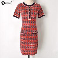 JOYDU 2018 Newest Runway Design Knitwear Summer Dress Female Fashion Laid Leopard Buttons Short Sleeve Vintage Dresses for Women