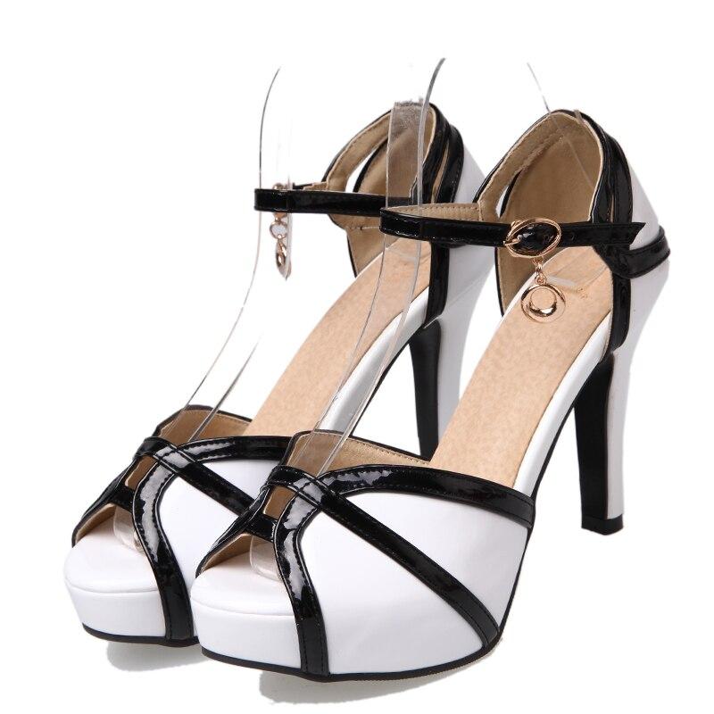 Scarpe Da Nero 2018 Zapatos Tacchi Dames Il rosso Alti Open Nuove Sposa Mujer Sandali Formato Nero Signore Schoenen 33 43 Toe Pompe Sfbenz Più bianco De oexdQrBWC