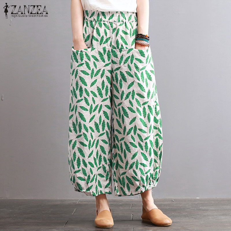ZANZEA Plus Size Fashion Women   Wide     Leg     Pants   Vintage Floral Printed Cotton Linen Pantalon Loose Casual Elastic Waist Trousers
