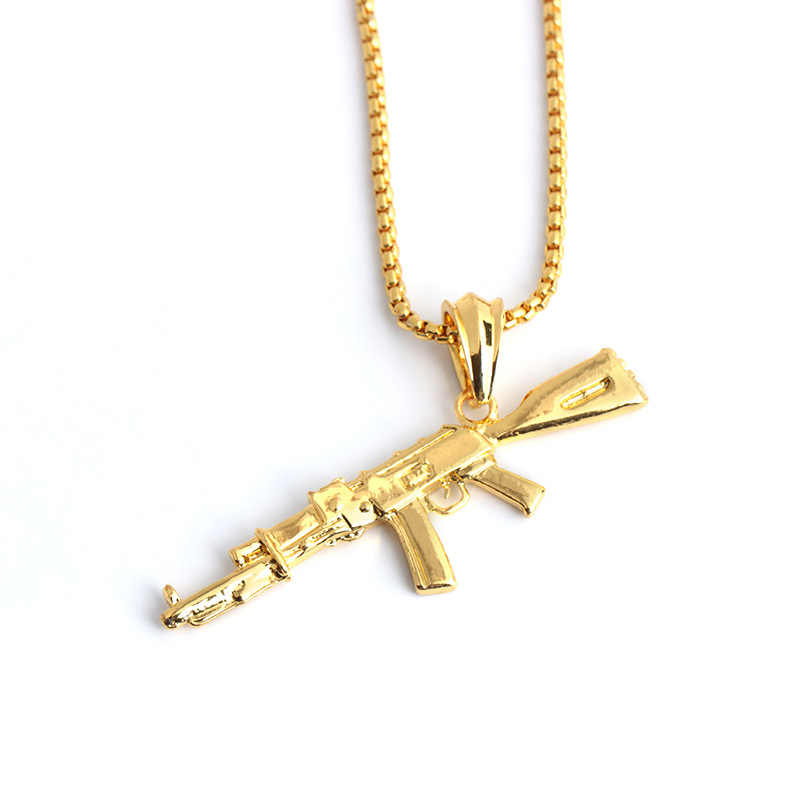 Fashion Cool Ak47 Gun Pendant Necklace European Hip Hop Jewelry Stainless Steel Gold Silver Color Long Chain